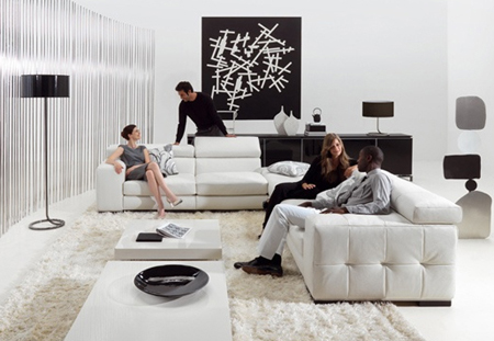 Black & white living room by Natuzzi. If you make occasional errors in