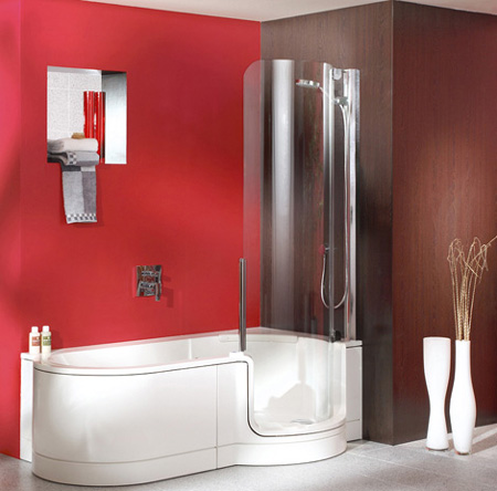 Red and white bathroom interior